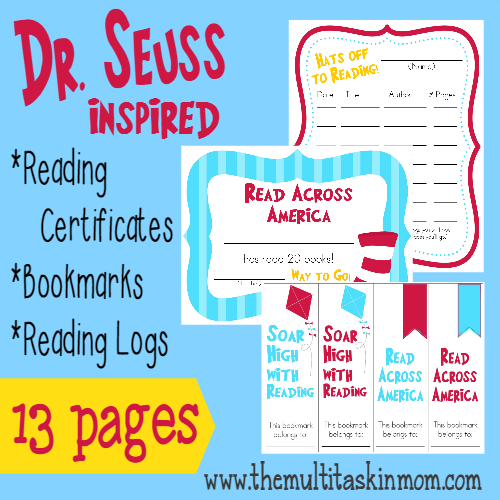 FREE Dr. Seuss Inspired Reading Supplies at TheMultitaskinMom.com