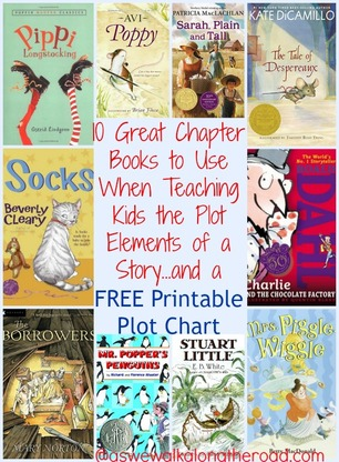 10 Great Chapter Books to Use When Teaching Kids the Plot Elements of a Story...and a FREE Printable Plot Chart - See more at: AsWeWalkAlongtheRoad.com