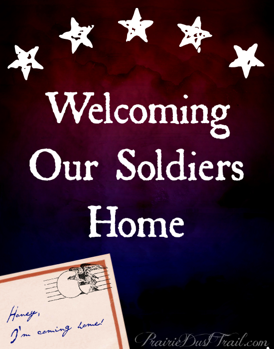 I'd like to encourage you to look at the needs of the families who are welcoming their soldiers home from deployment. While any change or transition in life can cause stress and difficulty adjusting, I know some men who have struggled most of their adult lives with the scars of conflict.