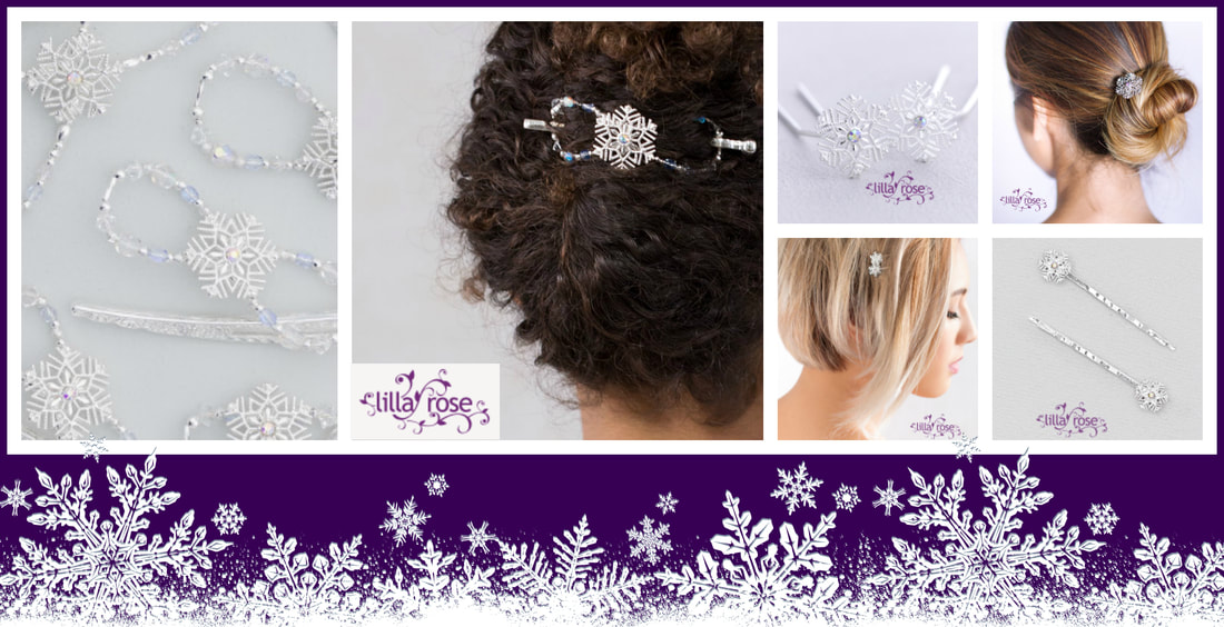 WINTER WONDER Shimmering snowflake gently settles amidst the lucid crystals of ice blue, aurora borealis, and clear. A delicate arrangement of silver plated beadwork and faceted glass. Perfect for the updo, the warm winter scarf, and even as napkin rings at a lovely holiday dinner setting.